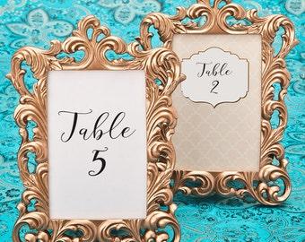 Rose Gold Picture Frames 10 Set - Size 4 x 6 - Baroque Table Number Frame - Wedding Favors Party Favor Victorian Bridal Shower