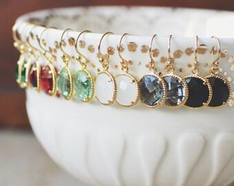 Round Stone Dangles // Gold // Rope // White, Emerald, Gray, Aqua, Fuchsia, Black // Simple Earrings // Everyday Jewelry