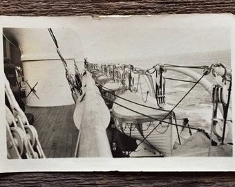 Original Antique Photograph The Waves Over the Rail