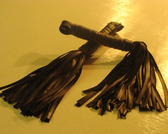 PAIR of Extra Thuddy Long Handle Rubber Flogger VEGAN