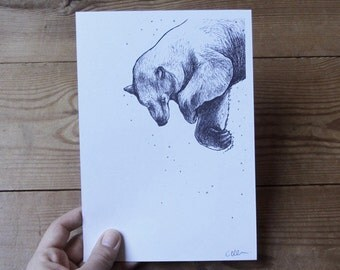 Swimming Polar Bear A5 Print - Choose 1 or Set of 2 - Bear Illustration