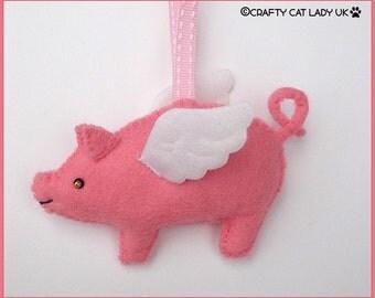 Pig with Wings felt ornament. Flying Pig. Handmade felt pig ornament. Candy Pink