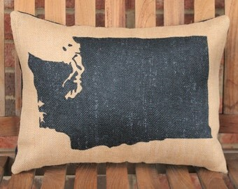 Hand Painted Washington State on Burlap Pillow Cover