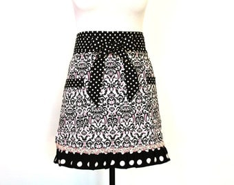 Classic Black, White and Pink Apron with vintage accent trim