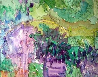 Garden Joy, Watercolor Floral, Purple Greens, Home Decor, Silver Frame, Floral Painting, Garden Art, Kathleen Leasure, FromGlenToGlen