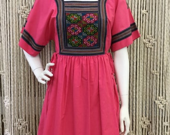 Beautiful 1970's pink bohemian dress with colorful embroidered bib
