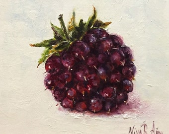 Blackberry Original Oil Painting by Nina R.Aide Fruit Fine Art Studio Gallery Kitchen Art Small Painting