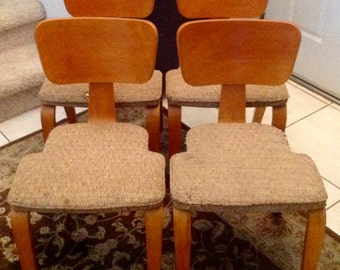 Thonet Vtg Mid Century Bentwood Stackable Dining Chairs - Set of 4