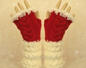 Santa Fingerless Chunky Knitting Cable Hand Warmers Christmas Xmas Soft Sheep Merino Mohair wool Red of White  Size M