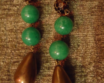 Boho Vintage Inspired Emerald and Bronze Dew Drops Earrings, One of A Kind