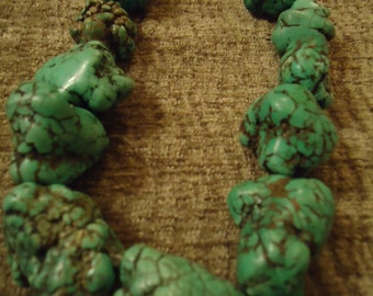 Handcrafted Bold Turquoise Chunky Antique Accents Necklace