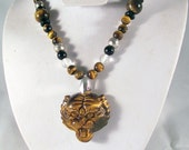 Asian Golden Tiger Eye Carved Totem Necklace