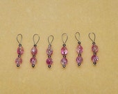 NEW! Pink-Clear Crackle Bead & Silver Size 10 Snag Free Stitch Markers