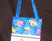 Bright Blue Fish Activity Bag with a Ton of Activities Included.  Cotton with 2 Long Carry Straps, Large Pockets, Batting, Super Soft, FUN!!