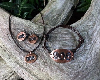 906 Area Code Yooper Pendant Bracelet Earrings Michigan's Upper Peninsula Copper