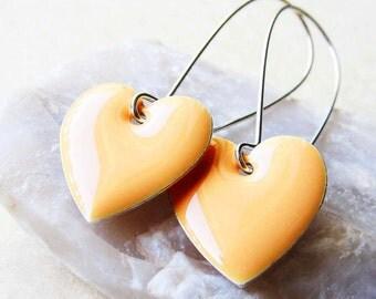 Dangle Drop Earrings - Pastel Peach Epoxy Enamel Hearts - Sterling Silver Plated over Brass (F-1)