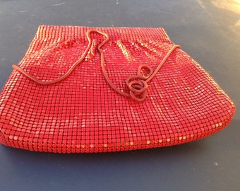Red Y & S Metallic Purse 8 x 11 with 19 inch strap drop cross body option vintage classic