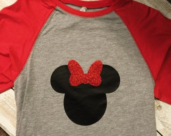 Minnie Mouse Shirt with Glitter Bow, Personalized Disney Shirt