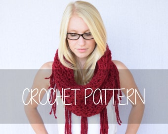 Crochet PATTERN Crocheted Cowl with Fringe, Crocheted Cowl, Winter Cowl, Chunky Crocheted Cowl || The Sara