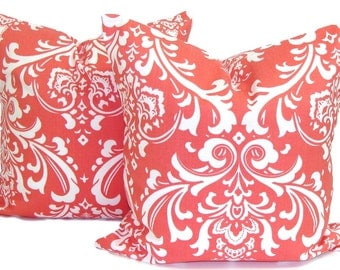 CORAL PILLOWS .SET Of Two.20, 18 or 16 inch .Pillow Covers.Decorative Pillows.Throw Pillow.Housewares.Coral Floral.Damask.Coral Cushion