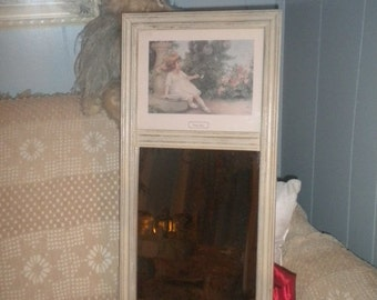 SUMMER SALE Beautiful Re do On A Vintage Mirror, Little Girl, Garden Games, Shabby Chic