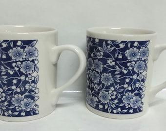 Deep Cobalt Blue Calico Mugs~Set of Two~