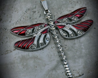 Silver Plated Large Dragonfly Pendant With Crystals And Enamel - Red