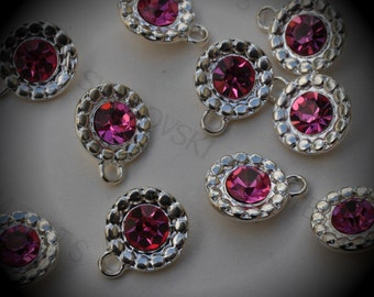 Genuine Silver Plated Swarovski Crystal  Daisy Flowers Charms In Rose