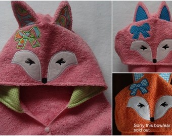 Girl Fox Hooded Towel with lined hood and bow fits infant to 7 years old - optional Personalization - Now with snap closure