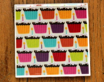 Birthday Cupcakes Trivet - 6in square - Birthday decoration