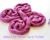 Dyed Merino Top from Ashland Bay - 2 oz of 21.5 Micron Combed Top for Spinning or Felting in Fuchsia - Rose-Colored Merino Top/Merino Roving