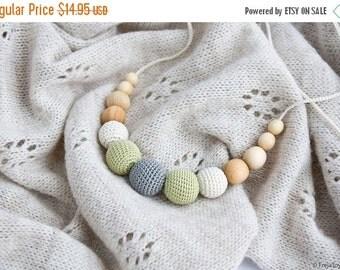 SALE Petite Teething / Babywearing / Breastfeeding Necklace, Baby Teether, Juniper, Neutral Colors, Gray Pistachio - FrejaToys