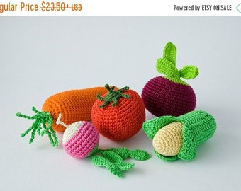 SALE Crochet Baby Rattles Veggies, Set of 5 - beet, corn, radish,  tomato, carrot - eco-friendly crochet play food, FrejaToys
