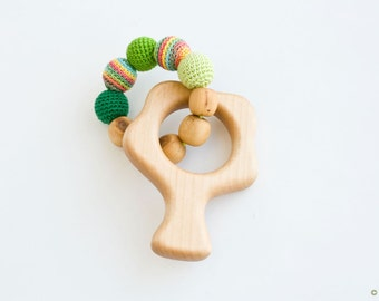 TREE Teething Ring, Wooden Rattle, Natural Baby Toy - New Baby Gift, Shower Gift, Rainbow, Green - FrejaToys