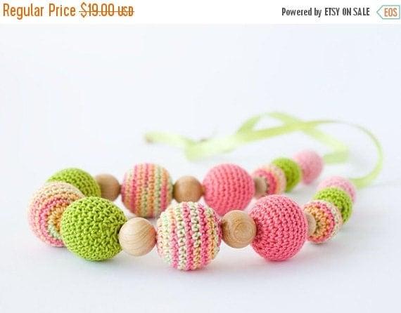 SALE Mallow Nursing/ Breastfeeding Necklace - Pink, Chartreuse - Babywearing, Teething Jewelry, Baby Shower Gift, Eco-Friendly - FrejaToys