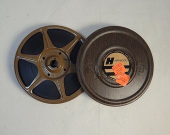 Vintage Movie Canister and Reel Dual 8 Brown Woodgrain 1970's with Film Home Theater Decor #4 Harwood