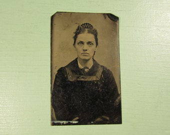 Unframed Lady Tintype - Antique Photograph Young Girl Hair Comb