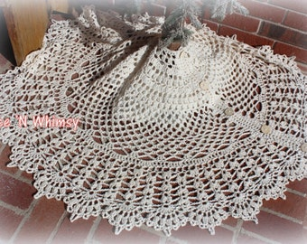 Vintage Christmas Xmas Tree Skirt Large Victorian Lace Doily Rustic Crochet Shabby Country Cottage Chic French Western White Ivory