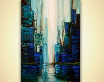 """Teal Green City Painting Original Modern Acrylic Palette Knife Abstract Painting Cyber City by Osnat 36"""""""