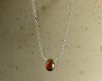 Garnet Necklace with Sterling Silver Chain, Faceted Garnet, Red Necklace, Red Garnet, Silver Necklace, Garnet Necklace