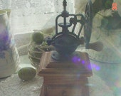 Coffee Grinder 1800's Replica, General Store Antique Style, Cast Iron and Oak, Replica Coffee Mill
