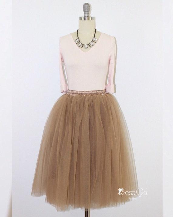 068722522f Colette - Light Coffee Tulle Skirt, Soft Tulle Skirt, Below Knee Tulle Skirt ,