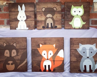 Set of 6 woodland creatures, woodland nursery, fox sign, owl sign, baby decor, kids gift, baby shower present, 10x10, fox nursery, animals