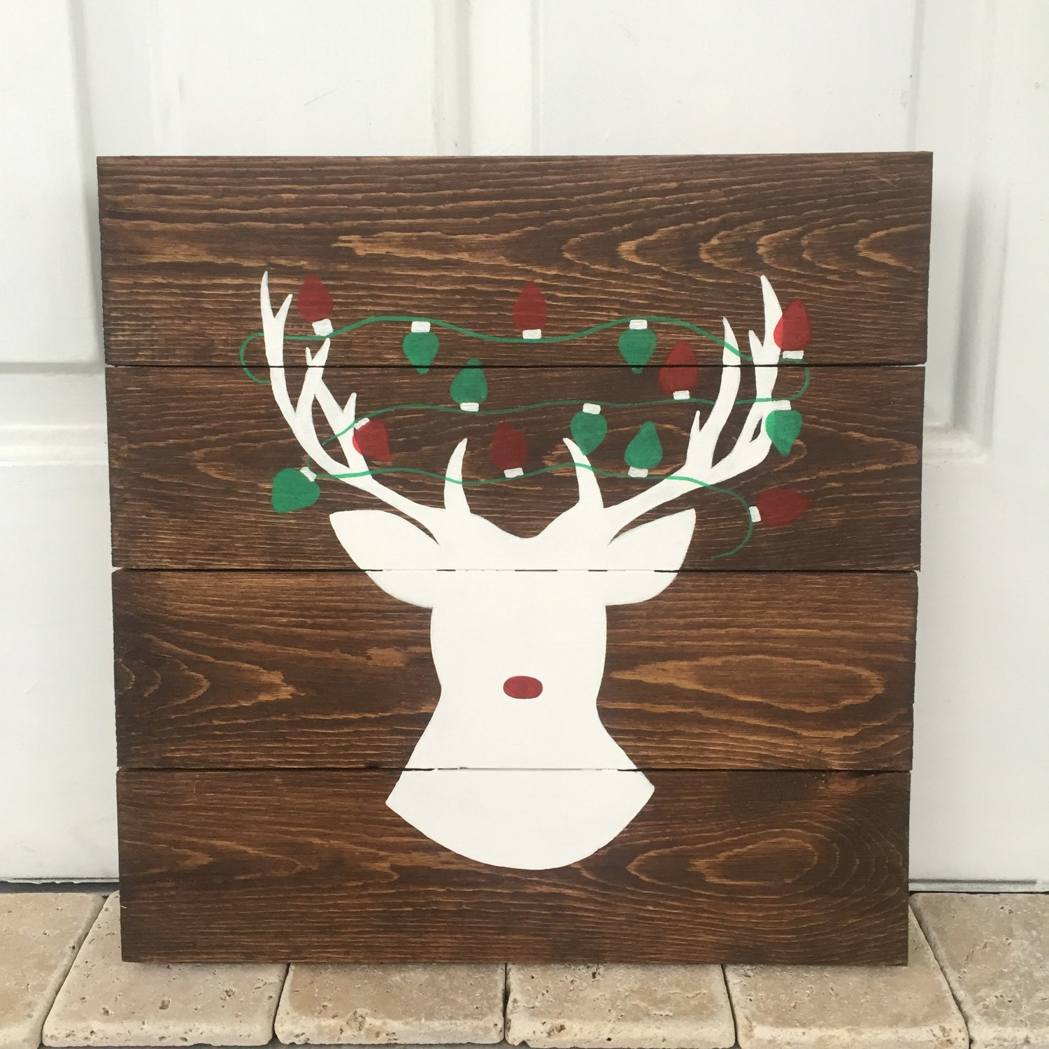 Reindeer sign christmas decor christmas pallet deer sign
