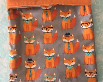 Dapper Foxes Cotton with Orange Flannel Snuggle Bag