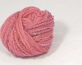 Rose pink spotted merino 2 ply - Hand spun yarn. lace weight spotted merino hand processed, hand dyed Pure Australian wool yarn.