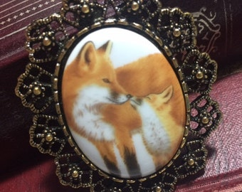 Victorian setting - brooch pendant combo- Porcelain FOX baby mom Kit family Necklace w/chain