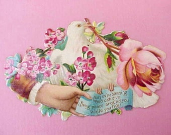Charming Victorian Era Calling Card with Dove and Rose-So Pretty!
