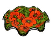 Vintage 60s 70s Retro Red & Green Poppy Flower Wavy Glass Dish