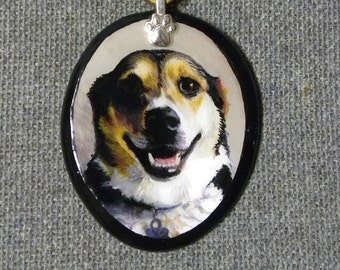 Custom Dog Portrait Pendant Made-to-Order from your photo// Pet Memorial Painting// Pet Loss, Dog, Horse, Cats, Pets, Animal Jewelry
